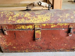 Vintage Snap On Toolbox Filled with heavy duty Bolts  Tools and more