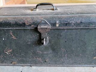 Vintage Heavy Duty Metal Toolbox Filled with Vintage   Primitive Tools   Farm Implements