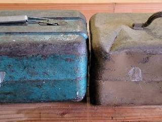 2  Vintage Metal Tackle Boxes