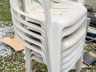 7  White Rubbermaid Chairs