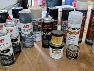 large lot of Spray Paint  Polyurethane  Clear Enamel  Enamel Paint   Wood Filler