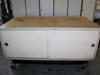 Rolling Mobile Counter Height Storage Cabinet with Work Surface Top