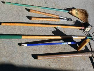 6  Piece Outdoor Tools lot  Axe  Forged Cultivator  Deluxe Adjustable lawn Edger  Window Pro Adjustable handle Squeegee  Pruners and Broom