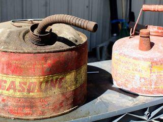 2  Galvanized Metal Vintage Gasoline Cans