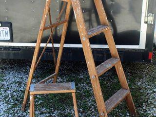 2  Wooden Work ladders  Step ladder