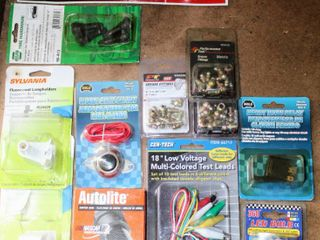 Assorted Packages of Automotive Accessories Parts  Cen Tech  Autolite  Performance Tool  WOlO  NAPA  lYNX and more