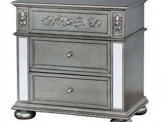 Nightstand Floral Faux Wood Carvings3mm Mirror Trim InsertsDrawers   Silver