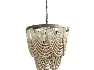Distressed Cream Metal  Wood Beaded Chandelier   Distressed Cream  Retail 470 57