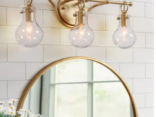 Glam Gold 3 lights Bathroom Wall Sconce Globe Clear Glass Vanity lighting for Powder Room   l 20 x H 8 5 x E 6  Retail 143 99