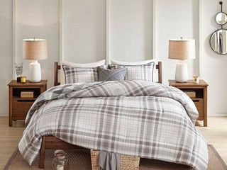 Madison Park Sheffield Full Queen 4 Pc  Cotton Printed Reversible Comforter Set Bedding