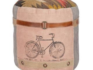 Round Boho Kilim Pouf with Screenprinted Bicycle 17  x 19    17 x 17 x 19Round  Retail 119 99