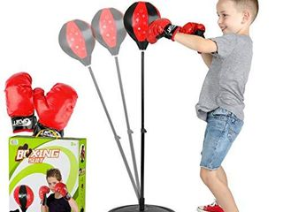 ToyVelt Punching Bag For Kids Boxing Set Includes Kids Boxing Gloves And punching bag  Standing Base With Adjustable Stand   Hand Pump   Top Gifting Idea For Boys and Girls Ages 3   8 Years Old