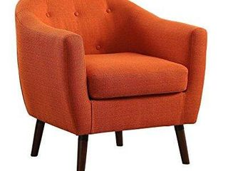 homelegance lucille button tufted low raised curved backrest accent chair with polyester cover  orange
