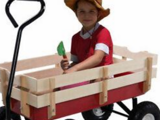 Outdoor Wagon Pulling Children Kid Garden Cart W  Wood Railing Red 330lbs