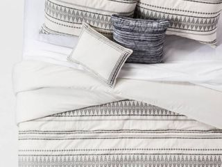 Cream Tatiana Global Woven Stripe Cotton Comforter Set  King  5pc  Beige