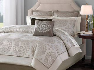 12pc Queen Madeline Jacquard Comforter Set   Tan