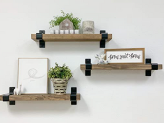 Dark Walnut Industrial Grace Wrap Floating Shelves  Set of 3