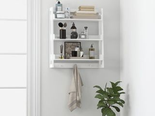 Spirich 3 Tier Wall Cabinet Bathroom Shelf Storage with Towel Hooks
