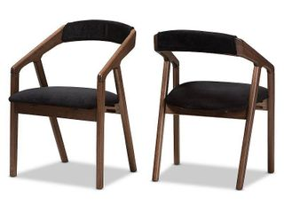 Set of 2 Baxton Studio Wendy Mid Century Modern Black Velvet and  Oak  Medium Brown Wood Finishing Dining Chair Set