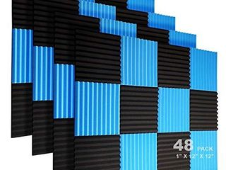 JBER 48 Pack Acoustic Foam Panels  1  X 12  X 12  Studio Soundproofing Wedges Fire Resistant Sound Proof Padding Acoustic Treatment Foam   Black   Blue