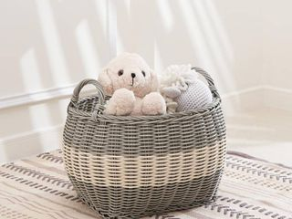 Vifah Hannah large Stackable Oval Resin Storage and Decorative Basket Set  Gray