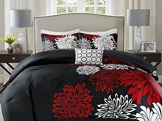 Comfort Spaces Enya Comforter Set Modern Floral Design All Season Down Alternative Bedding  Matching Shams  Bedskirt  Decorative Pillows  Queen 90 x90  Red Black