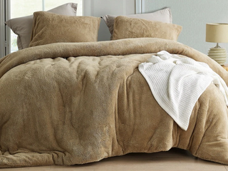 Full Size Coma Inducer Oversized Comforter   Teddy Bear   Taupe Natural  Shams not included