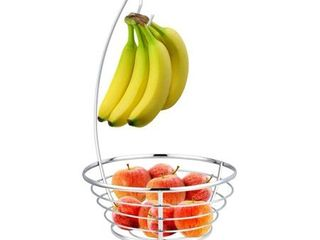 Steel Fruit Tree Basket Bowl with Banana Hanger