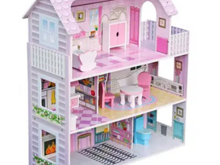 large Children s Wooden Dollhouse Kid House Play Pink with Furniture