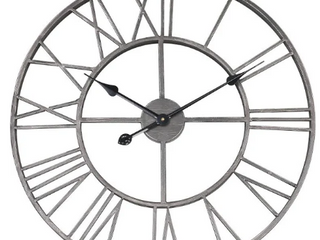 The Gray Barn Grey Round Roman Wall Clock  Retail 109 49