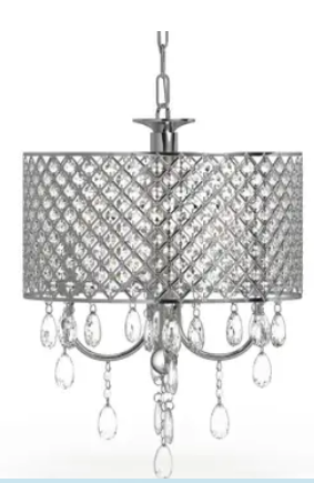 Silver Orchid Berger Chrome Finish 4 light Round Crystal Chandelier   N A  Retail 124 99