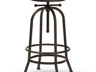 Baxton Studio Aline Vintage Rustic Industrial Style Wood and Rust Finished Steel Adjustable Swivel Bar Stool
