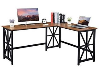 GreenForest l Shaped Desk  63 8  x 50  Industrial Heavy Duty Computer Corner Desk Reversible Gaming Desk Workstation for Home Office  Walnut