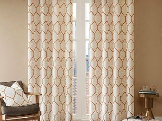 Set of 2 84 x50  Peyton Metallic Geo Embroidered Single Window Curtain Panel Orange
