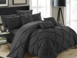 King 10pc Valentina Comforter Set Black   Chic Home Design