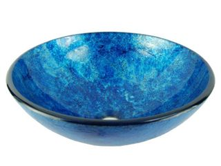 Fontaine Stratosphere Crackle Foil leaf Glass Vessel Sink in Blue