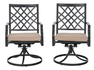 PHI VIllA Outdoor Patio Swivel Chair for Garden Backyard Furniture 2 Pcs Sets  Retail 239 99