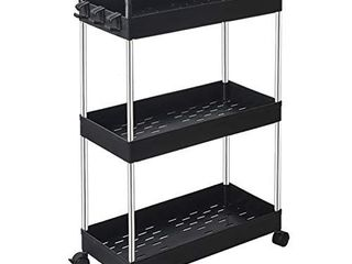 SOlEJAZZ Rolling Storage Cart 3 Tier Mobile Shelving Unit Bathroom Carts with Handle for Kitchen Bathroom laundry Room Black