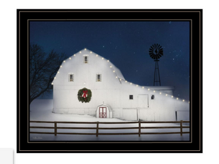 Black   Christmas Starry Night  by lori Deiter Ready to Hang Holiday Framed Print  White Frame