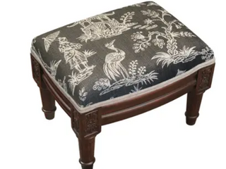 Gray Chinoiserie Footstool  Retail 89 99