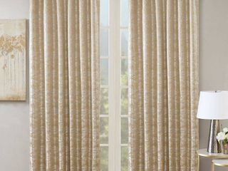 Pair of 95 x50  Aurora Jacquard Total Blackout Panel Gold