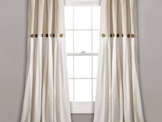 lush Decor linen Button Window Curtain Single Panel  Set of 2