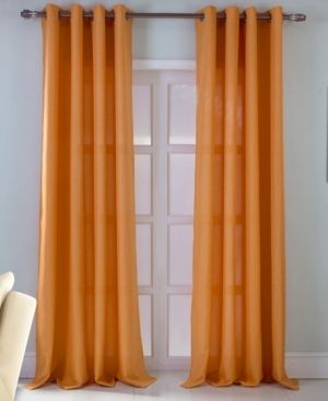 2 Asbury Jacquard 54 x 90 in  Grommet Single Curtain Panel  Orange  Set of 2