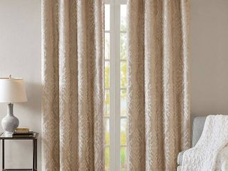 2 84 x50  Azalea Knitted Jacquard Total Blackout Panel Champagne  Set of 2