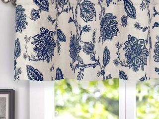 2 DriftAway Freda Jacobean Floral linen Blend Blackout Thermal Insulated Energy Saving Privacy Window Curtain Valance Rod Pocket 2 layers Single 50 Inch by 18 Inch plus 2 Inch Header Navy Beige