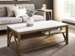 Walker Edison AF48AFCTWMNWT 48 in  A Frame Farmhouse Coffee Table   Faux White Marble   Natural Walnut