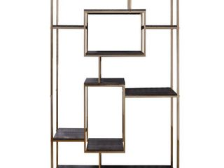 Etagere Bookshelf with 9 Shelves and Geometric Pattern  Gold and Dark Gray  Retail 722 99