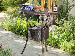 Oyster Bay Outdoor Wicker Round Bar Table  ONlY  with Ice Pail by Christopher Knight Home   Retail 187 49