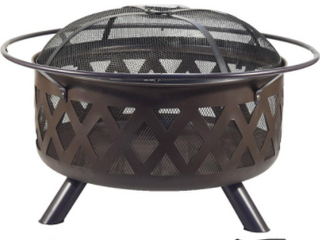 29 5  Round Diamante Steel Fire Pit W  Spark Guard Screen   Poker lifter