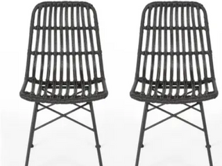 Everton Boho Wicker Dining Chair  Set of 2  by Christopher Knight Home  Retail 293 99